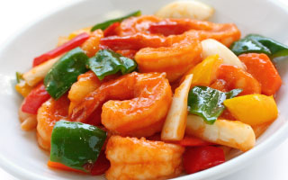 Shrimp meal with vegetables